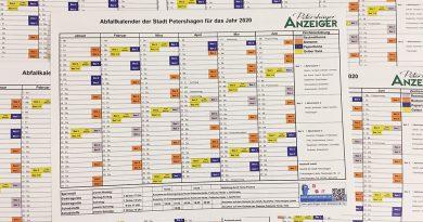 Verteilung der Abfallkalender der Stadt Petershagen für 2020