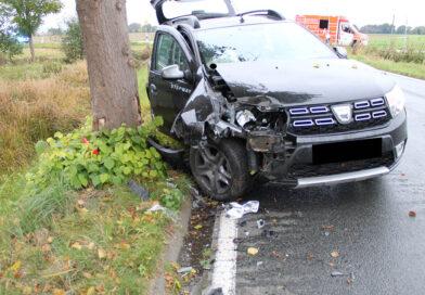 Auto prallt gegen Baum